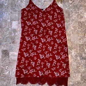 Vintage Spaghetti Strap Dress With Lace Trim